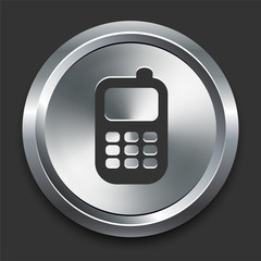 Cell Phone Icon on Metal Internet Button