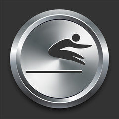 Long Jump Icon on Metal Internet Button
