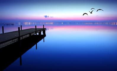 Fotorolgordijn Pier embarcadero en el lago