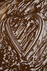 heart shape in chocolate sauce