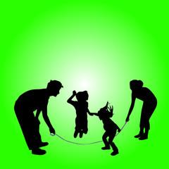 children skipping rope