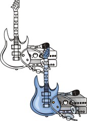 Blue electroguitar. Musical instruments.
