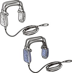 Grey ear-phones with a long wire. Musical instruments.