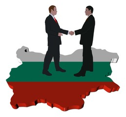Business meeting on Bulgaria map flag illustration