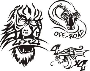 Head of a lion, dragon and a lizard. Off-road symbols.