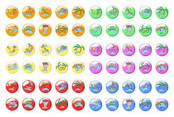Collection of sixty colored icons travel, vector illustration