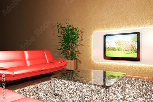 """""""Soggiorno con divano rosso e televisione"""" Immagini e Fotografie Royalty Free su Fotolia.com ..."""