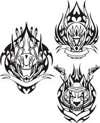 Head of a wolf and motorcycle helmet. Tribal bikes.