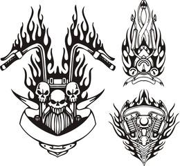 Three skulls in a black flame.