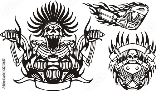 Line Art Xl 2010 : Quot mad skeleton at the wheel a motorcycle tribal bikes