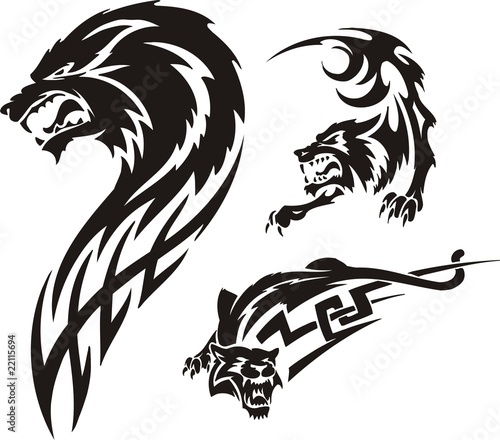 Quot Three Drawings Of A Wolf Tribal Predators Quot Stock Image