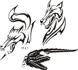 Crocodile, fox and wolf. Tribal predators.