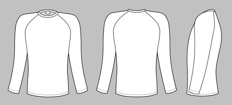 Raglan sleeve t-shirt isolated on grey background