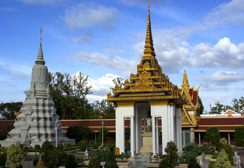 View of stupas in the Royal Palace garden in Phnom Penh city