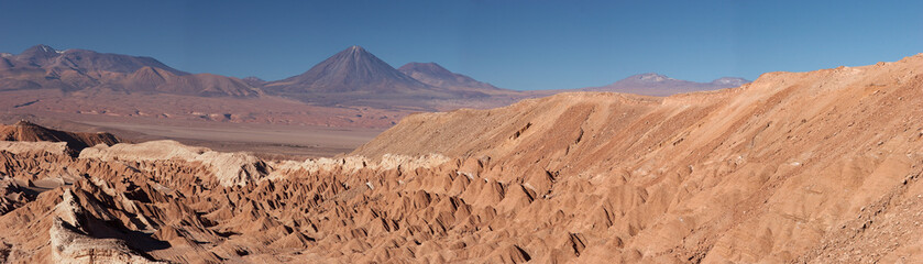 Atacama Desert and volcanoes panorama, Chile