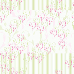 "Seamless background. Collection ""for Mom"". Hearts and stripes."