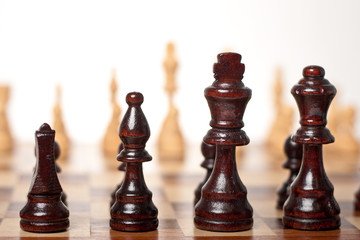 Chess Set Board Black Pieces in Focus