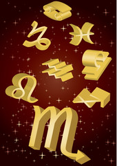 Gold zodiacal signs fly in space, vector illustration