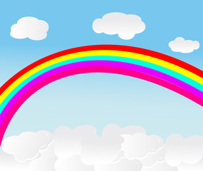 vector background with sky, rainbow and clouds