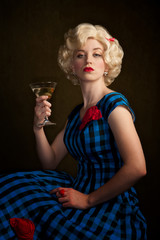 Pretty Retro Blonde Woman with Martini