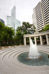 fountain in front of modern building
