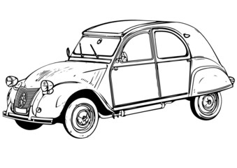 Illustration of a retro car