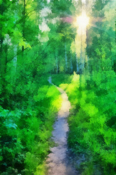 illustration, road in the forest