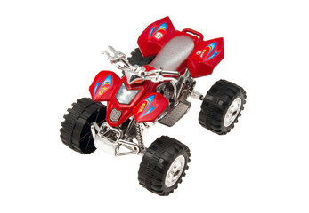 Toy motorcycle with 4 wheels on a white background