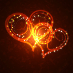 burning hearts with sparkles