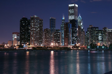Wall Murals Shanghai Chicago skyline and reflection at night