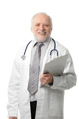Senior doctor laughing to camera