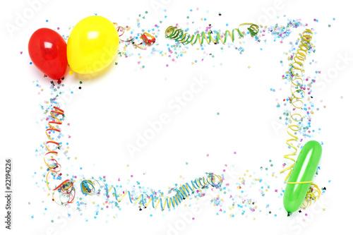 rahmen aus luftballons luftschlangen und konfetti stockfotos und lizenzfreie bilder auf. Black Bedroom Furniture Sets. Home Design Ideas