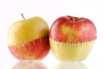 The creative apples combined from two half