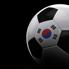 South Korean soccer ball over black background