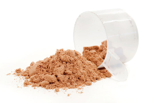 A scoop of protein powder drink on white background.