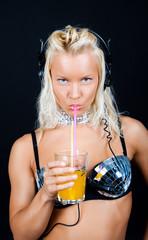 Sexy girl drinking