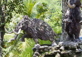 Sculpture of elephant in jungle. Indonesia. Bali.