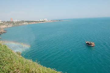 sea view with a boat in antalya