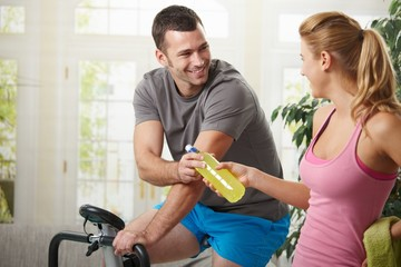 Man training on exercise bike