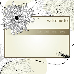 website design template with flowers.
