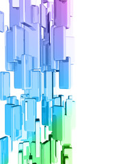 Rainbow 3d cubes with glossy light effects