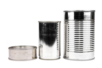 Three kinds of cans against white background