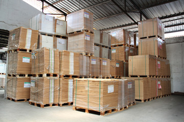 merchandise stacked in a warehouse