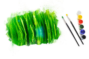 green fresh grass painted on white background