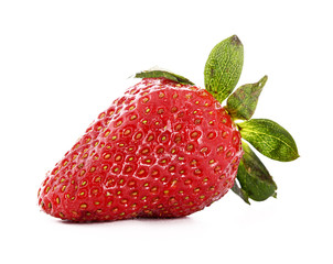 strawberry closeup isolated on white