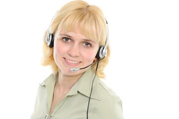 Service representative in headset