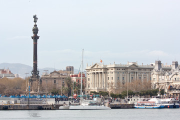 Barcelona's seaport and Columbus monument