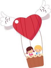 Boy and girl riding hot air balloon