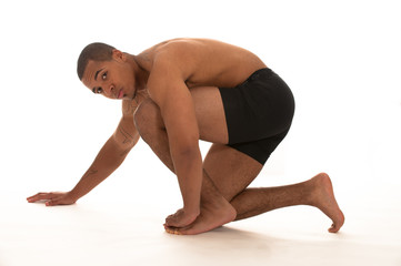 beautiful black male athlete in studio