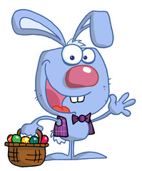 Waving Blue Bunny With Easter Eggs And Basket